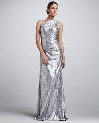 wedding guest dresses silver one shoulder