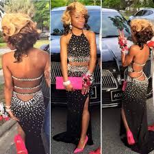 crystal black two piece african prom dress 2k16 diamond beaded