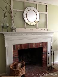 favored white painted fireplace mantel also brick wall panels as
