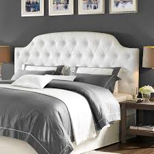 Modern White Bed Frame Elle Decor Tufted Upholstered Headboard Hayneedle