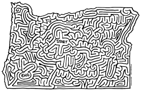 Oregon Map Outline by Mazes Oregon By Eric J Eckert