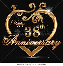 38th wedding anniversary 38 year anniversary golden 38th stock vector 250323265