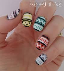 nailed it nz colourful pastel tribal nail art