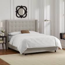 Tufted Wingback Headboard King Bed Grey Tufted Wingback Headboard Bed Without Headboard Grey