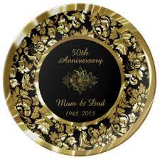 50th anniversary gold plate 50th wedding anniversary plates zazzle