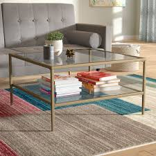 Metal Glass Coffee Table Fallis Square Metal Glass Open Shelf Coffee Table U0026 Reviews
