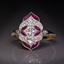 antique early art deco diamond ruby engagement ring antique