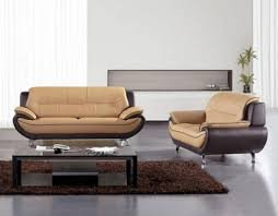 Modern Sofa Sets Living Room American Eagle Ae208 Brown Yellow Faux Leather 2pcs Living Room