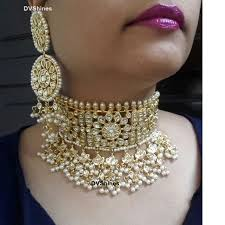 jewellery choker necklace images Stunning kundan choker necklace in pearls dv shines jewellery png
