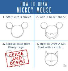 how to draw mickey mouse 1 start with 3 circles 2 add a heart