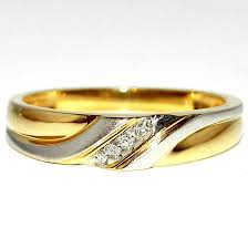 wedding gold rings 10k gold wedding ring mens 5mm 0 05ct two tone white and yellow