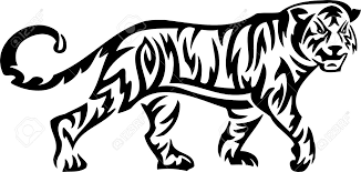 tiger tribal animals vector illustration ready for vinyl cutting
