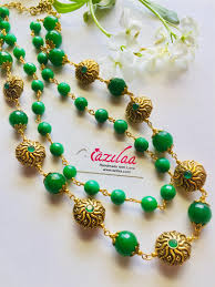 beaded necklace photos images Green beaded necklace designer gemstone necklace at 3950 azilaa jpeg
