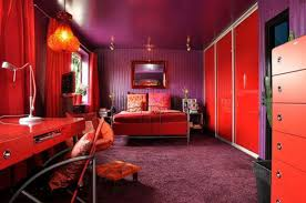 modern home mix purple color and red color for wall painting