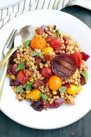 fregola with roasted tomatoes and red onions two of a kind