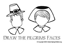 thanksgiving pilgrim faces draw pilgrims faces coloring pages