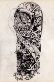 clock pocket watch and roses tattoos sketch photo 3 photo