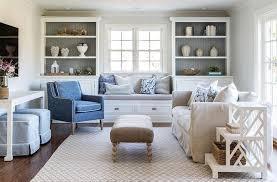 gray and white living room gray beadboard trim on back of white shelves cottage living room