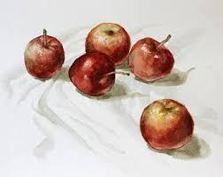 Kitchen Apples Home Decor Apple Watercolor Etsy