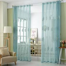Blue Sheer Curtain Modern Embroidered Tulle Curtains For Bedroom 2 Colors White Blue