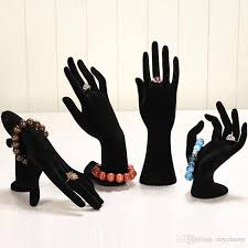 bracelet hand display images High quality black white hand shaped black cashmere ring display jpg