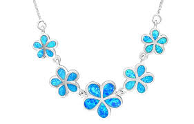 blue opal necklace amazon com sterling silver five plumeria flower necklace with