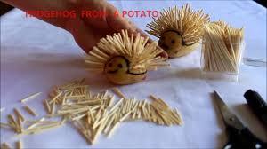 diy hedgehog from a potato hand made how to make kindergarden