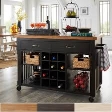 weston home kitchen cart with wine rack multiple finishes