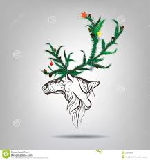 reindeer with antlers of a christmas tree vector illustration