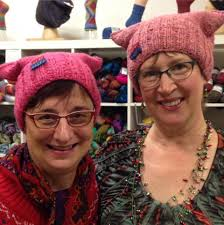 thousands of women knit pink hats to wear at trump protest