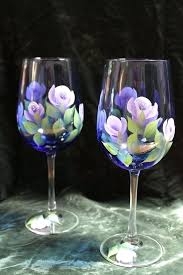 wedding wine bottle designs painted wine glasses lavender and