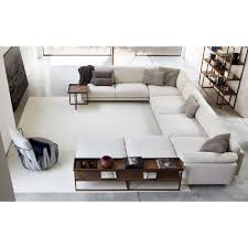 extra long deep white u shaped sofa with ottomans and side tables