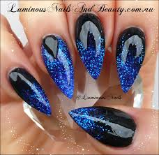 luminous nails black with electric blue nails nails