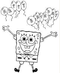 spongebob squarepants happy birthday coloring pages printable