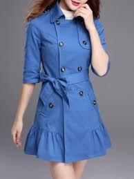 li a le occasion they sold well trench coats blue falbala lapel 97li698