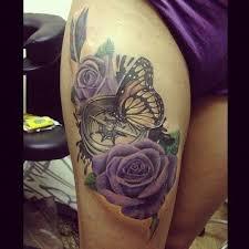 rose clock butterfly thigh tattoo tattoos i want tattoos