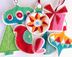felt ornaments retro felt christmas ornaments pattern set embroidered digital