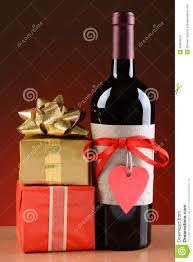 valentines presents wine bottle and valentines presents stock photo image of
