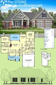 large estate house plans plan 51750hz 4 bed craftsman with open concept living space and