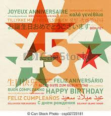 stock illustration of happy 45th birthday large red 45 with