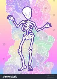 goth halloween background kawaii funny spooky skeleton over cloud stock vector 498481705