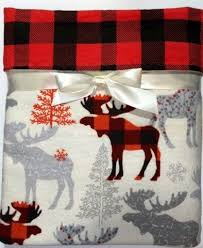 Flannel Crib Bedding Flannel Baby Blanket Buffalo Plaid Moose Blanket Crib Blanket
