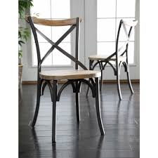 walker edison furniture company brown wood and metal dining chair