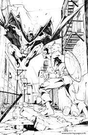 superhero captain america avec batman coloring pages printable