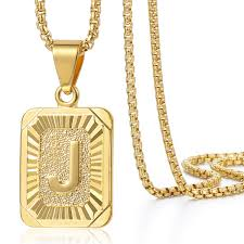 necklace letter gold images Mens women chain gold plated pendant necklace square initial JPG