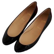 black plain patent leather christian louboutin ballet flats