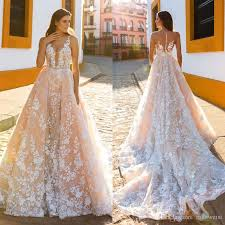wholesale wedding dresses mermaid blush wedding dresses with detachable 2017