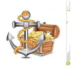 anchor and chest stock vector illustration of crab illustration