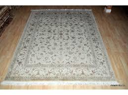 Rugs Only 11 U0027 X 8 U0027 Wool U0026 Silk White Background Persian Tabriz Design Rug On