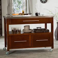 roller portable kitchen island with storage and seating